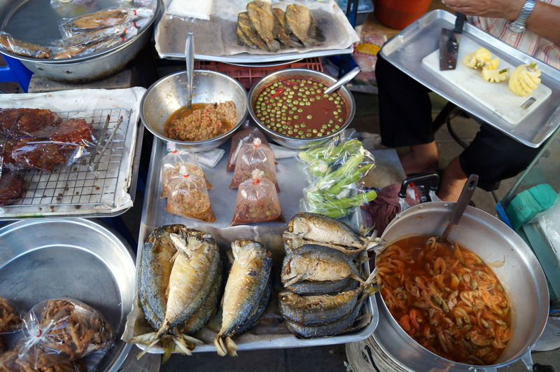High Angle View Of Fresh Seafood At Market Stall