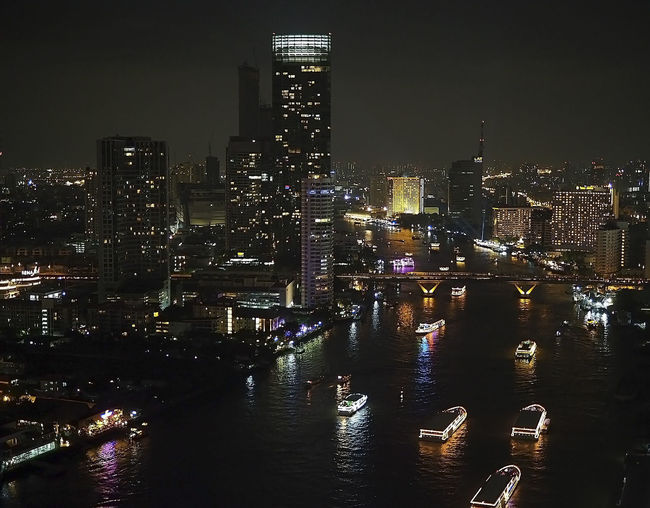 Building Exterior Built Structure Chaopraya River At Night City Cityscape Illuminated Modern Night Nightlife Outdoors Residential District River Tall - High Tower Water