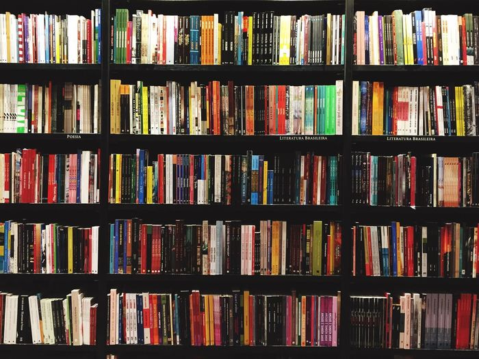 Books Shelf Large Group Of Objects Backgrounds Full Frame Abundance In A Row Variation Publication Book Choice Bookshelf Multi Colored Arrangement No People Order Close-up Indoors  Education Side By Side Still Life