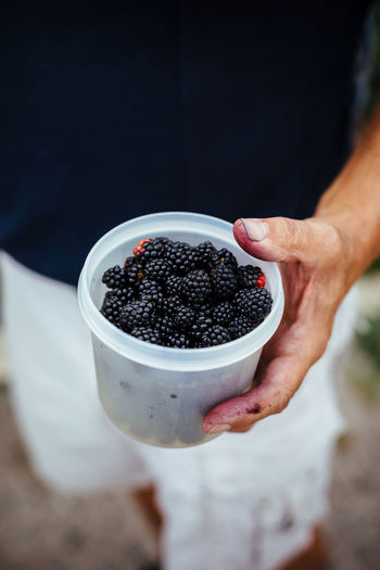 Midsection of man holding blackberries in container