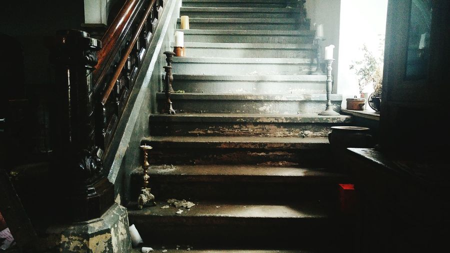Low angle view of empty staircase in building