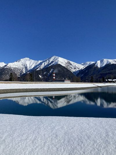 Lake in the mountains in winter