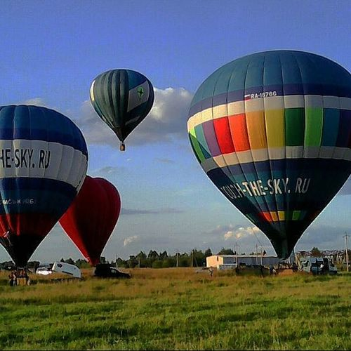 Hot air balloon over landscape