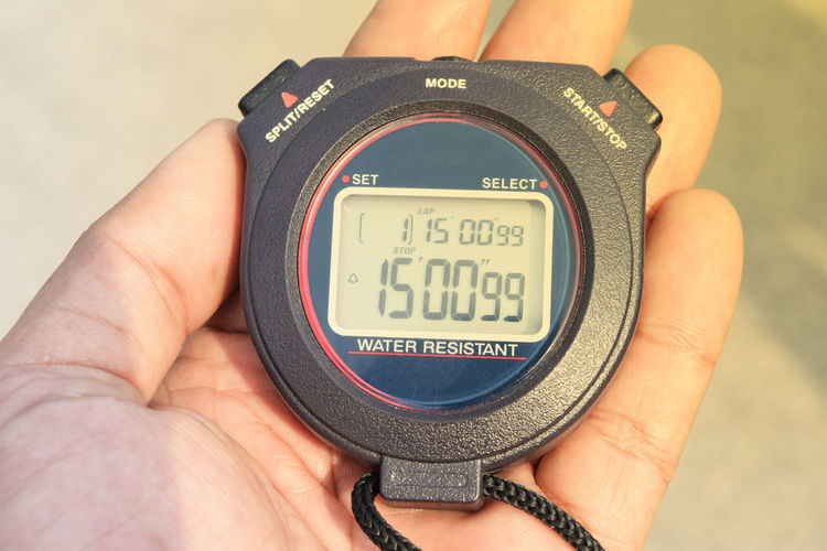 Close-up of hand holding stopwatch