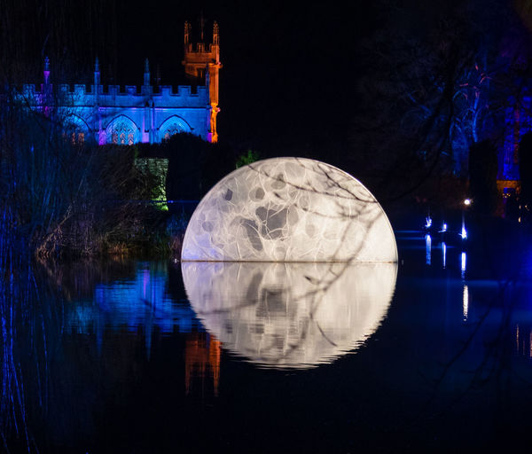Night Water Illuminated Moon Reflection Spectacle Of Light Sudeley Castle Chapel