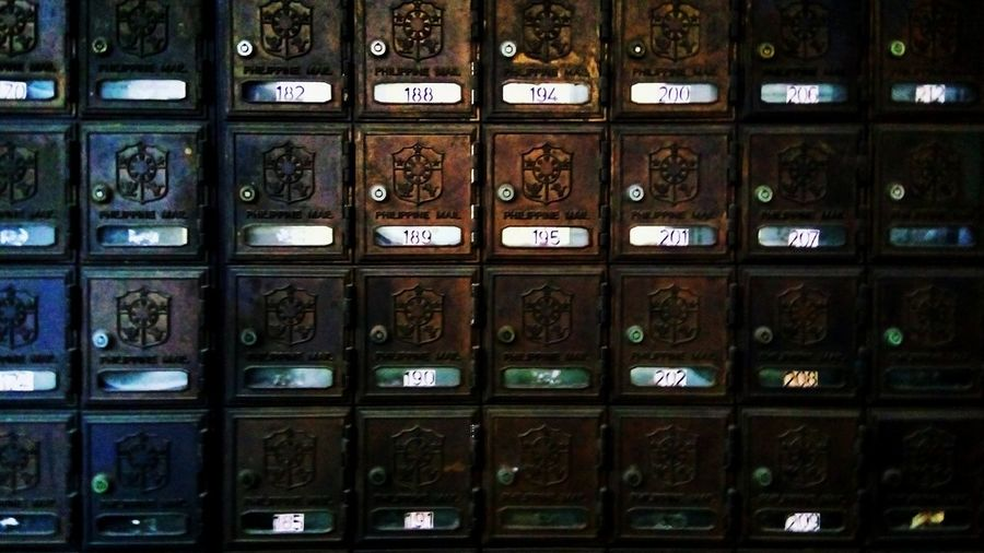 Post. Beautifully Organized The Philippine Islands Full Frame In A Row Abundance Backgrounds Order Number Large Group Of Objects Repetition No People Close-up Indoors  Day Old-fashioned Post Office Mail Shelf Communication Postbox In A Row Collection Arrangement