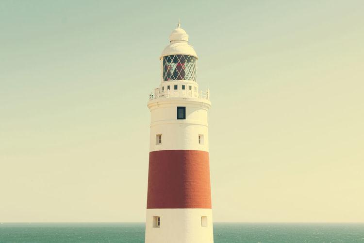 Infinity Architecture Blue Guidance Horizon Over Water Idyllic Lighthouse Minimalism Ocean Outdoors Sky