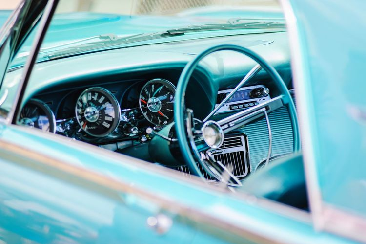 Classic Automobile Dashboard Automobile Classic Car Sixties Fifties Blue Cyan Dashboard Steering Wheel
