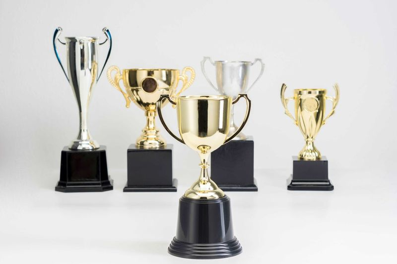 Variety of Trophy Cup on white background AWARD Trophy Success Winning Achievement White Background Indoors  Studio Shot Gold Colored Still Life Shiny No People Competition Metal Gold Cut Out Group Of Objects Side By Side Close-up In A Row Silver Colored