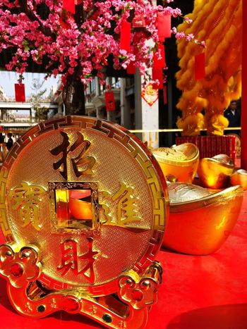 Chinese New Year street decorations. Holidays Streetphotography Symbolisch Symbolic  Good Luck Prosperity & Luck Cultural Festival Traditions Traditional Festival Celebrations Decorations Gold Colored Chinese New Year No People Close-up Flower Day