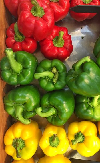 Red green yellow capsicums Red Capsicum Yellow Capsicums Green Capsicums Vegetables Chillies