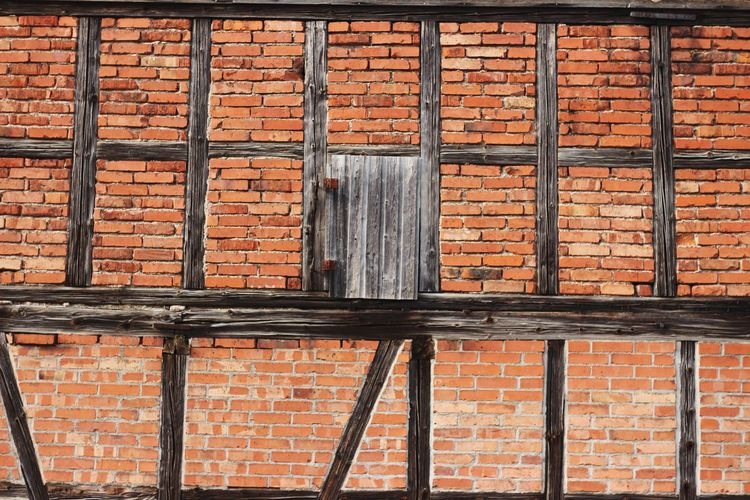 Backgrounds Full Frame Pattern Rusty Metal Brick Wall Close-up Architecture Building Exterior Built Structure