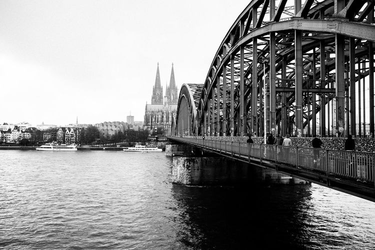 To central Köln Architecture Bridge - Man Made Structure Built Structure Canal Capital Cities  City City Life Connection Culture Day Engineering Famous Place Fujifilm_xseries Nature No People Outdoors Rippled River Sky Streetphotography Tourism Travel Destinations Vscofilm Water Waterfront