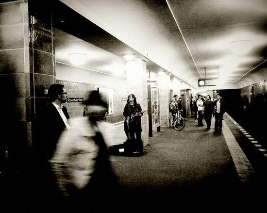 A moment frozen in time Berlin Blurred Motion Bw Metro Metro Station Musician Potsdamer Platz Train Platform