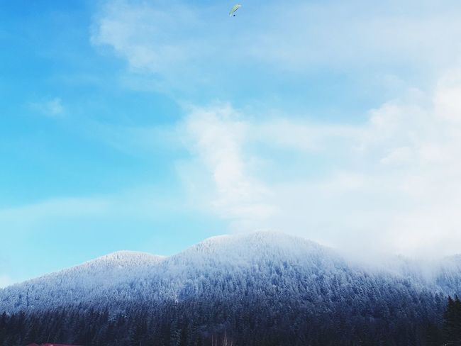 EyeEmNewHere Paragliding Snow Cold Temperature Winter Blue Beauty Ice Power In Nature Sky Go Higher