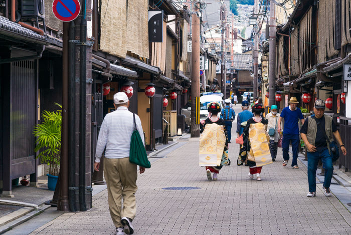 Adult Alleyway Architecture Building Exterior City Day Female Gion Girl Japan Japanese  Kimono Kimono Girl Kyoto Landmark Lifestyles Location Maiko Outdoors People Real People Street Traditional Clothing Walking