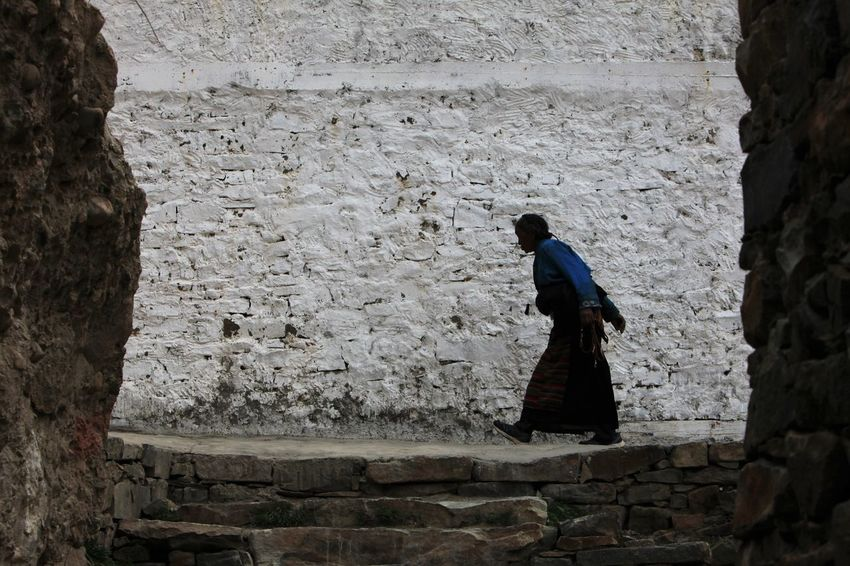 Old Woman One Person Silhouette Temple Tibet Tibetan Buddhism Walking