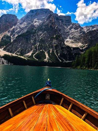 Rowing on a Braies Lake - trentino Alto Adige Travel Photography Relax Holiday Boat Dolomites EyeEmNewHere Water Nature Day Mountain Lake Tranquility EyeEmNewHere EyeEmNewHere