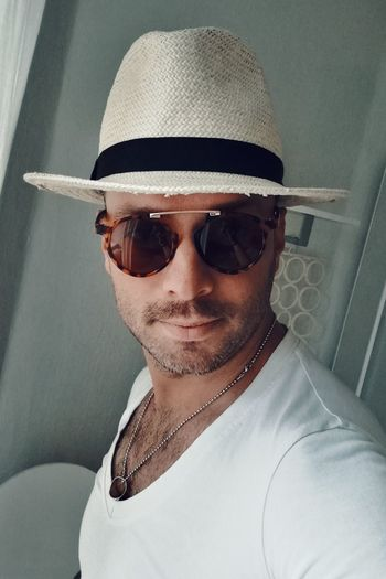 Sunglasses Hat One Person One Man Only Only Men Portrait Headshot Adult Adults Only Front View People Sun Hat Looking At Camera Close-up Day Young Adult Outdoors Beautiful People Mustache Handsome Macho Sexyman Fashion Males  Fashion Model