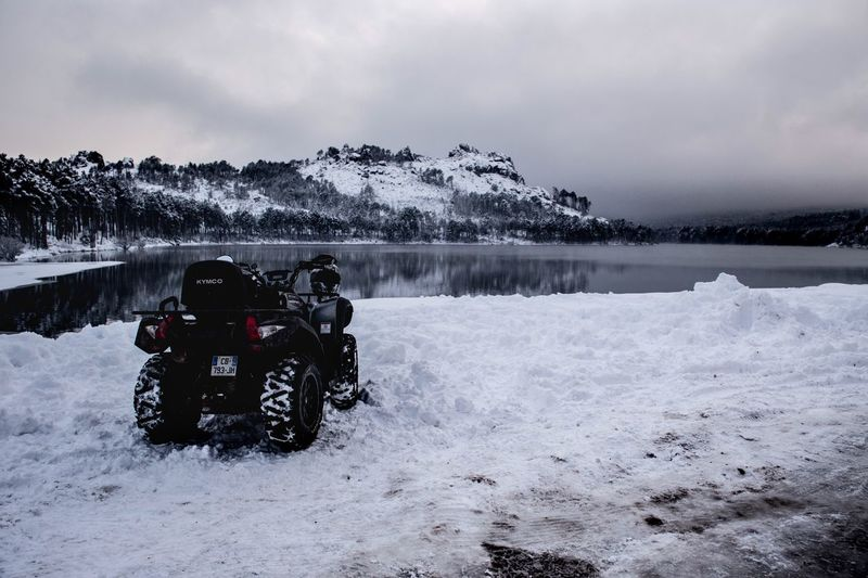 Kymco Action Quad Cold Temperature Winter Snow Weather Sky Nature Beauty In Nature Transportation Outdoors Cloud - Sky Scenics Field Landscape Day Mountain Tree No People Water Adventures In The City