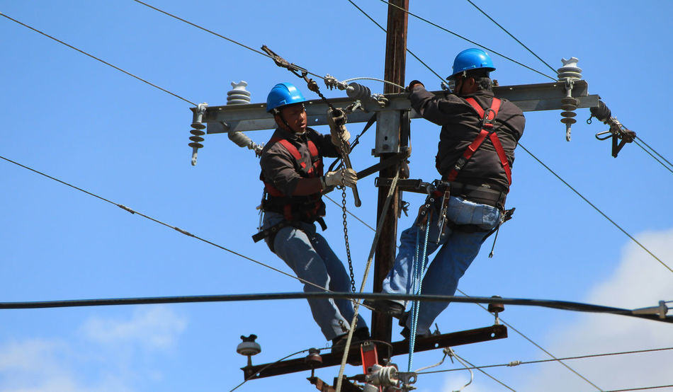 Electrical workers in Panama Safety Hard Hat Cable Clear Sky Day Electricity  Group Of People Headwear Helmet Low Angle View Men Nature Occupation Outdoors People Power Supply Protection Real People Repairing Safety Safety Equipment Safety Harness Safety Helmet Sky Teamwork Working