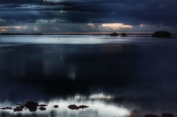 Horizon Distant Water Reflections Clouds And Sky Selective Focus Outdoors Public Place Landscape No People Reflection Dusk Sky Light And Shadows Dramatic Sky Sunset Coastal Water Night Clouds Bokeelia Florida Sunset Florida United States Showcase June