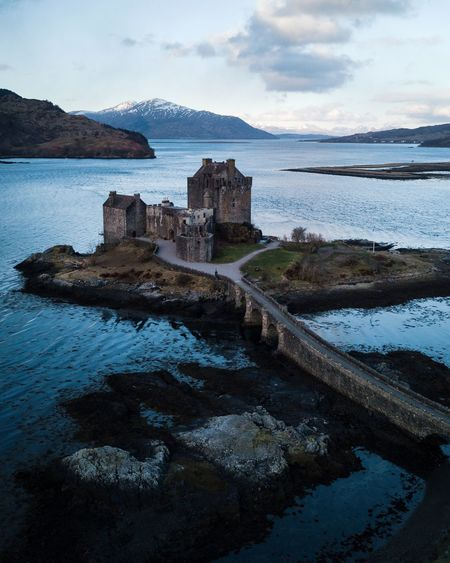 Castles in Scotland Winter Landscape VSCO Scotland Water Sea Sky Cloud - Sky Beach Nature Architecture Built Structure Beauty In Nature No People Land Scenics - Nature Day Solid Tranquil Scene Rock Tranquility Outdoors Reflection