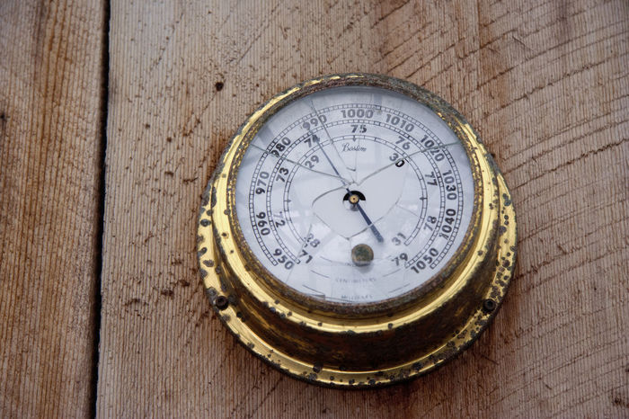 Antique Brass Ships Barometer on Wood - Tofino, Vancouver Island, British Columbia, Canada Ancient Antique Barometer Brass Broken Canada Climate Change Compass Environment Forecast Gauge Global Warming Gold Instrument Measure Measurement Meteorology Nautical Vessel No People Number Old Single Object Text Vintage Weather