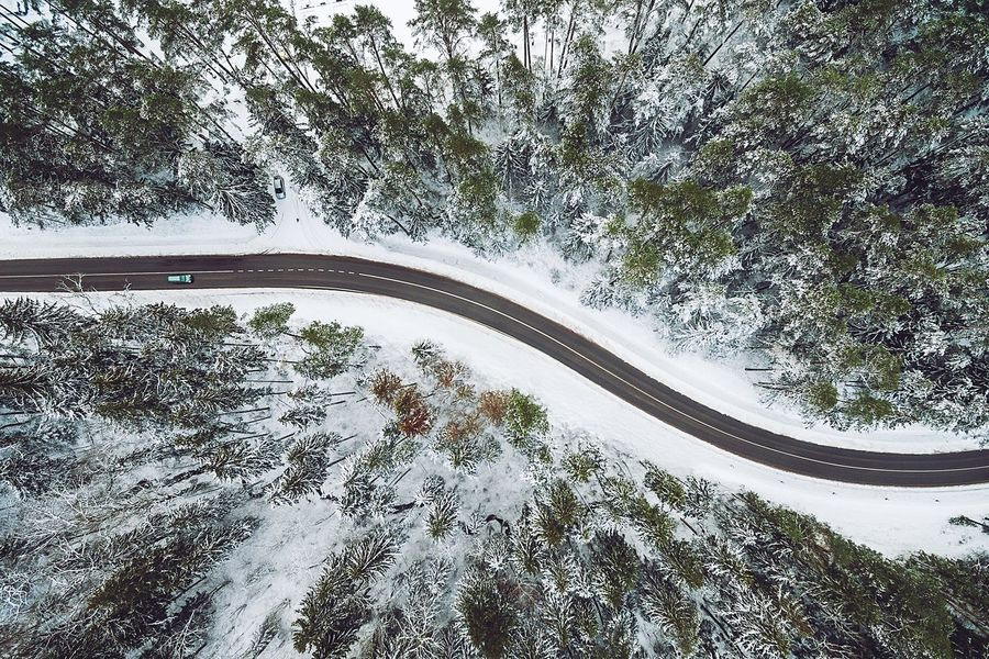 Winter road Winding Road Car Transportation High Angle View Nature Curve Outdoors Beauty In Nature Landscape Tree No People Day Mountain Mountain Road Drone  Dronephotography Phantom 3 Dji Flying High