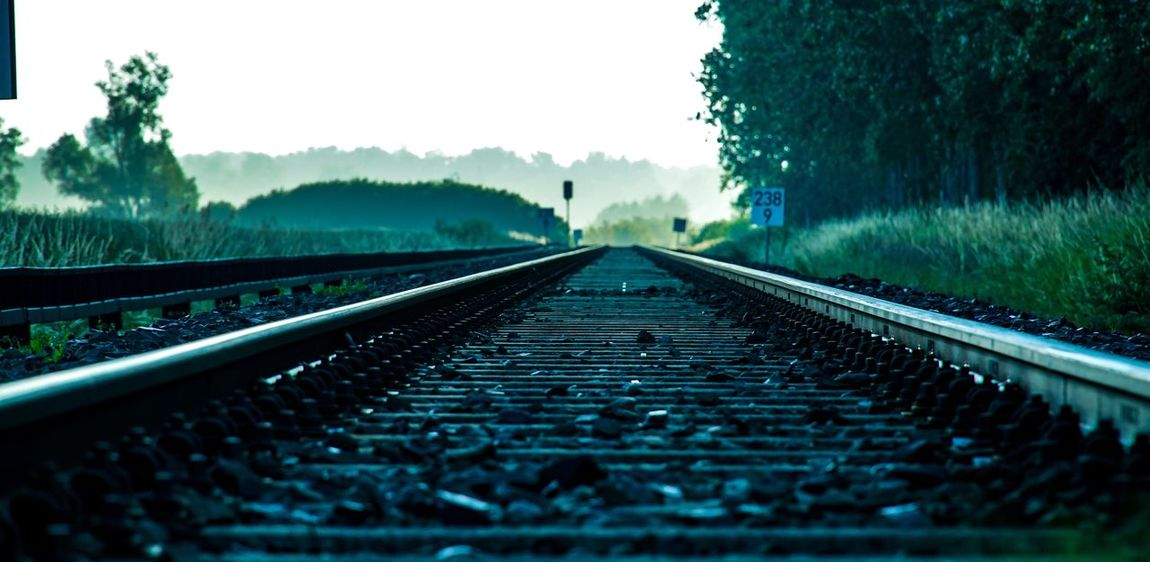 Der Weg ist... \the way is Eisenbahn Railway Track Railway Goodmorning :) Morgenstimmung Morgendämmerung Morgenlicht Nebel Railroad Track Rail Transportation Track Direction The Way Forward Tree Plant Diminishing Perspective Transportation No People Nature vanishing point Sky Day Surface Level Outdoors Land Fog Travel Straight