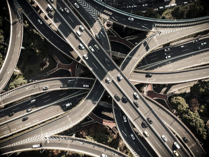 Drone Shot Of Elevated Road In City