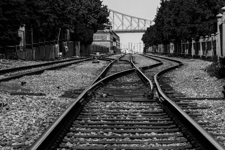 Railroad tracks leading towards bridge