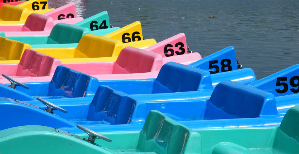 Close-up of paddle boats