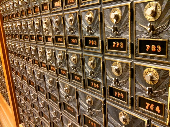 Mailboxes Mail Locks Jerome, AZ Silver  History Historical Old Timey Public Post Office Beautifully Organized