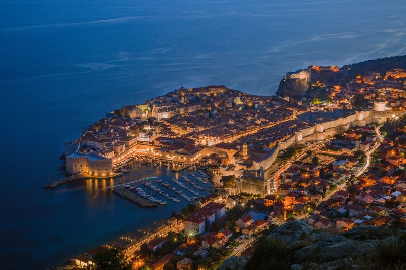 Night of old town Dubrovnik Dubrovnik, Croatia Nightphotography High Angle View Architecture Building Exterior No People Built Structure Night Water Outdoors Sea Illuminated Cityscape Sky City Nature