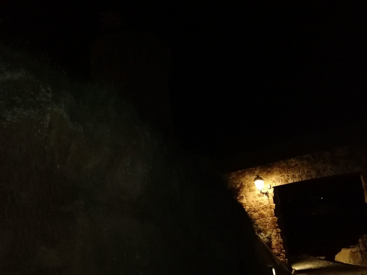 indoors, dark, architecture, night, no people, illuminated, built structure, old, history, the past, copy space, low angle view, light - natural phenomenon, wall - building feature, nature, building, domestic room, abandoned, run-down
