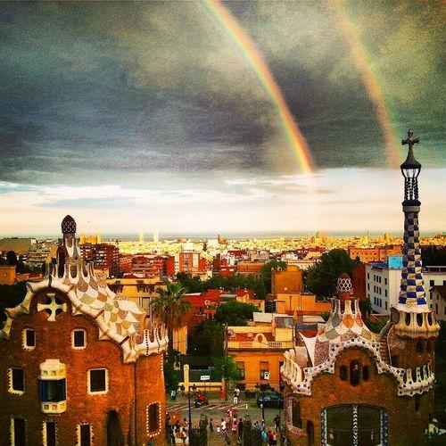 Park Guell, Barcelona. Parkguell Barcelona Doublerainbow