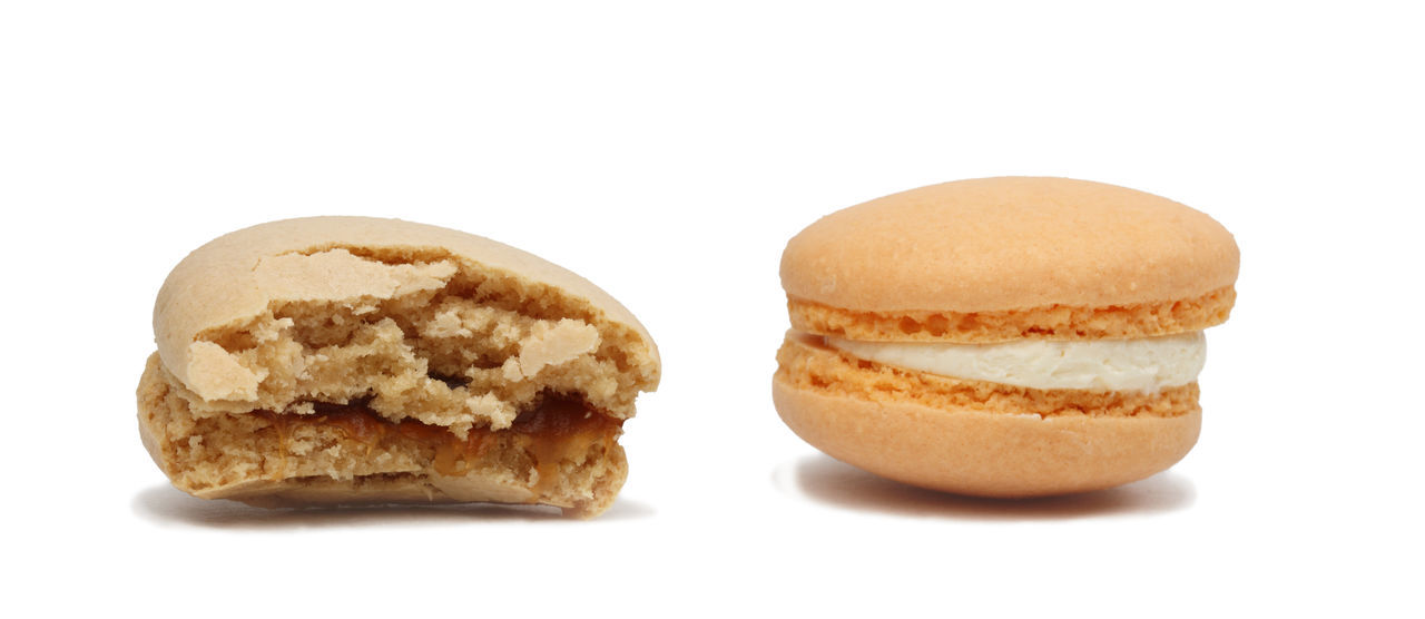 Macarons Macarons Macaroons Ready To Eat Bitten Close-up Cut Out Food Food And Drink Freshness Macaron Macaroon Ready-to-eat Snack Studio Shot Sweet Food White Background