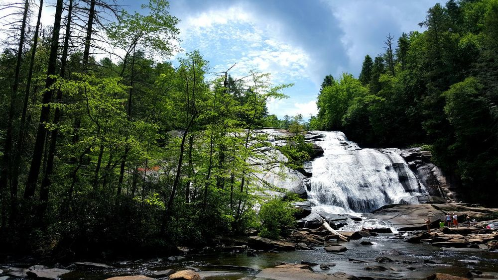 Waterfall Non Urban Scene Non Recognizable People Summer Day Landscape Scenics Active Lifestyle  Beauty In Nature Sun On Water  Blue Sky Vast High Waterfall Water On Rocks Lush Foliage Humid Climate Boulders Rocks River Swimming High Falls North Carolina