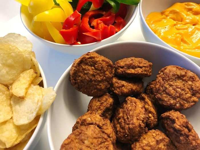 Guess who's back! Mr. Snack! Meatballs Snack Overflow Food And Drink Food Freshness High Angle View Ready-to-eat Still Life Plate Healthy Eating Bowl Wellbeing Serving Size No People Vegetable Temptation Fried Choice Snack Table Indulgence