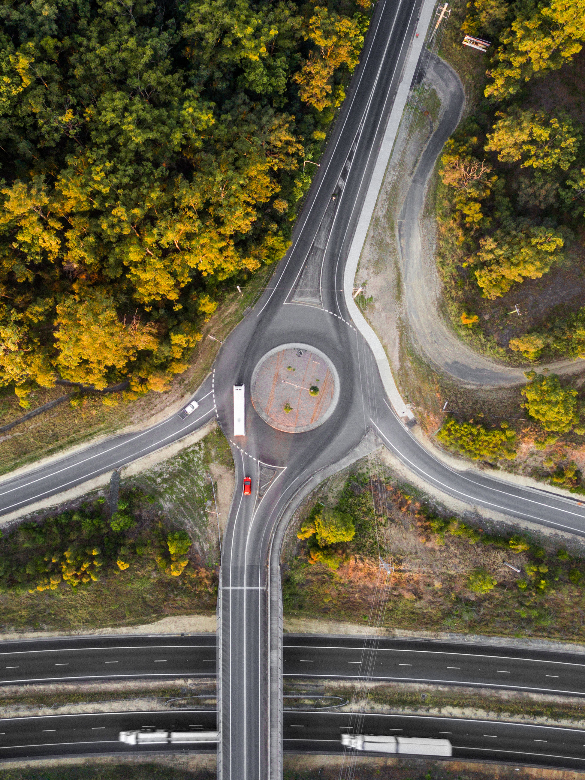 transportation, road, tree, plant, no people, nature, highway, day, motion, autumn, bridge, architecture, curve, connection, outdoors, bridge - man made structure, multiple lane highway, city, mode of transportation, motor vehicle, change