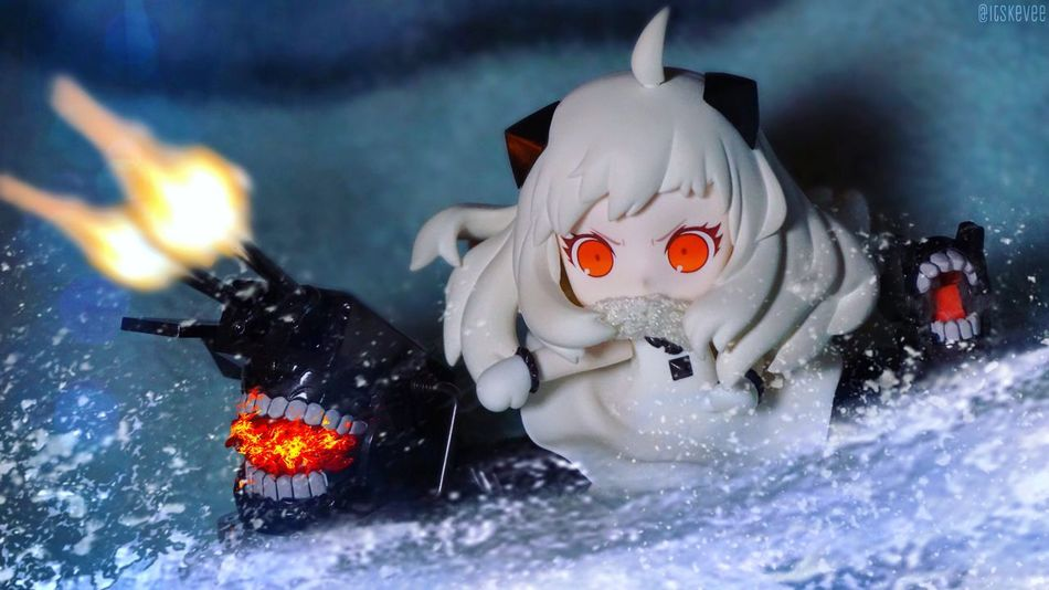 Hoppou: GO HOME!!! Cute Water Sea Northern Princess Close-up Colorful 艦コレ Kancolle 艦隊これくしょん Kantaicollection Focus On Foreground Anime Art Creativity ねんどろいど Nendoroid Toyphotography Still Life Toys Monster Girl