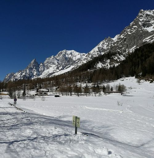 Street With Snow Snow Road Sign Monte Bianco Mont Blanc Cross Country Skiing Winter Sky Mountain Outdoors Trees And Sky Courmayeur Val Ferret