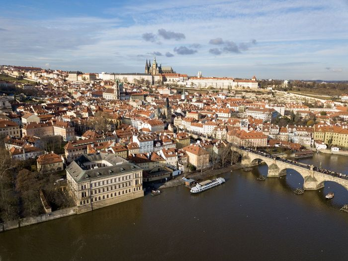 Prague and prague castle from above