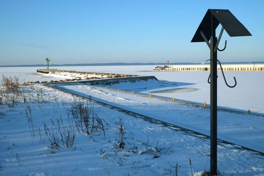 Sea Frozen Metre Deep at Tolkmicko Baltic Cold Temperature Day Frozen Sea Harbour Horizon Over Water Nature No People Outdoors Poland Polska Port Sea Sky Snow Tranquility Water Winter