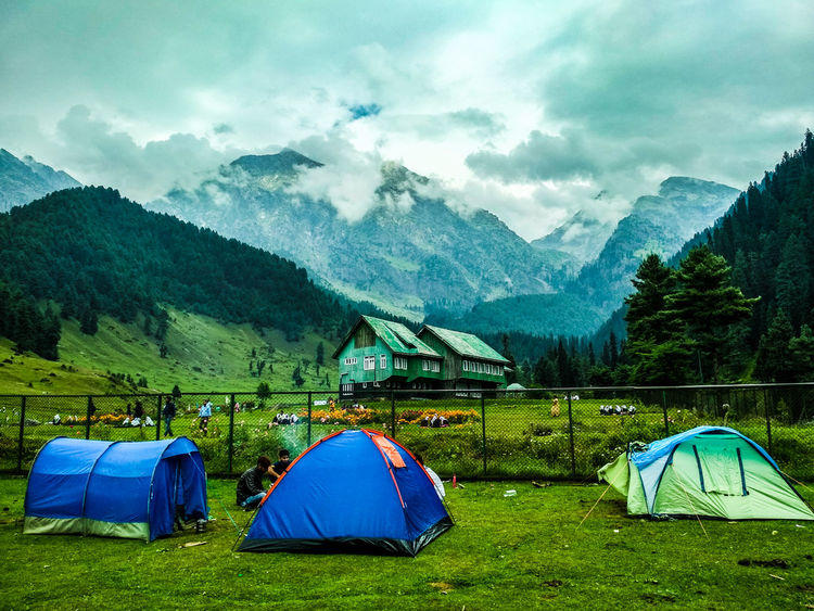 Camping at Aru Valley, Pahalgam. Photography Photooftheday Getty Getty Images EyeEm Best Shots Mobilephotography Kashmir Kashmirdiaries Nature Naturelovers Wanderlust Explore Adventure Tree Mountain Tent Field Camping Sky Grass Landscape Valley