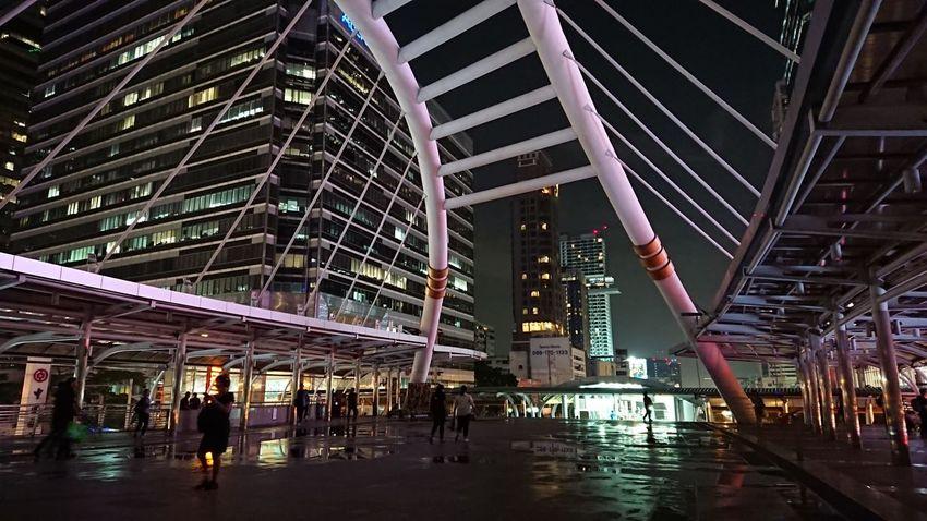 Landscape Land bound thai. Night Modern Thai Bangkok Time City Cityscape City Life People Person Walk Outdoors Outside