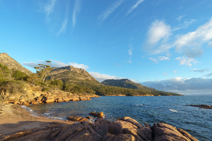 Coles Bay Freycinet National Park Tasmania Australia Coles Bay Beauty In Nature Blue Cloud - Sky Day Freycinet Freycinet National Park Landscape Mountain Nature No People Outdoors Rock - Object Scenics Sea Sky Tasmania Tranquil Scene Tranquility Travel Destinations Water