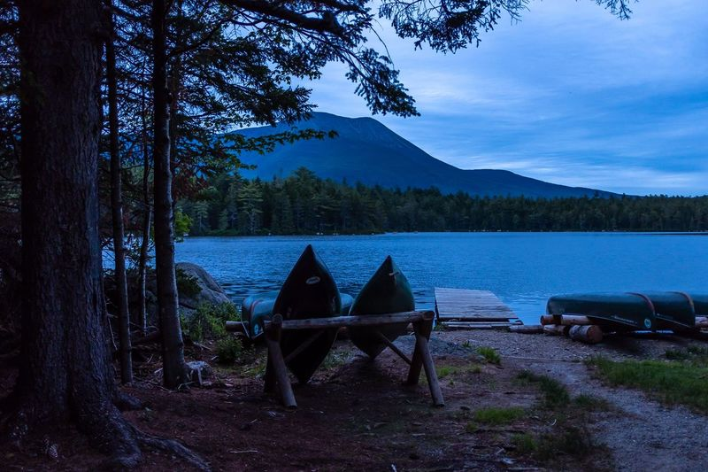 Camping Baxter State Park Blue Hour Beauty Camping Water Tree Plant Lake Scenics - Nature Beauty In Nature Tranquility Tranquil Scene Nature Mountain No People Sky Non-urban Scene Remote Outdoors Idyllic