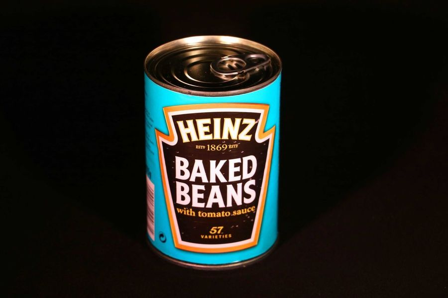 Food Art Beans Baked Beans Tomatosauce Day Black Background Close-up